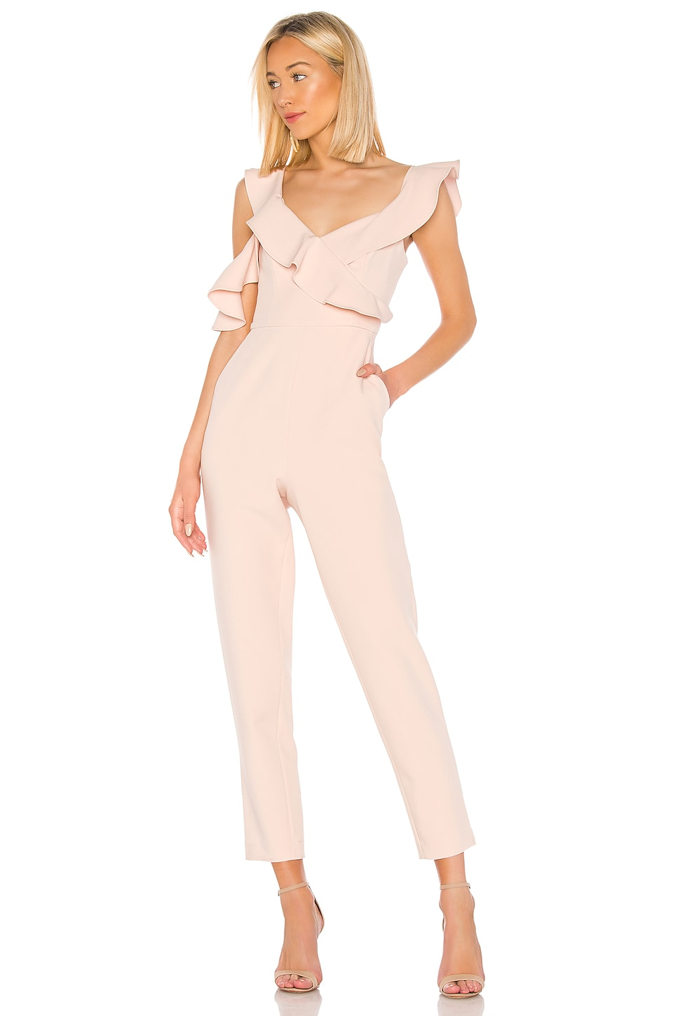 BCBGMAXAZRIA Ruffle Top Jumpsuit in Bare Pink