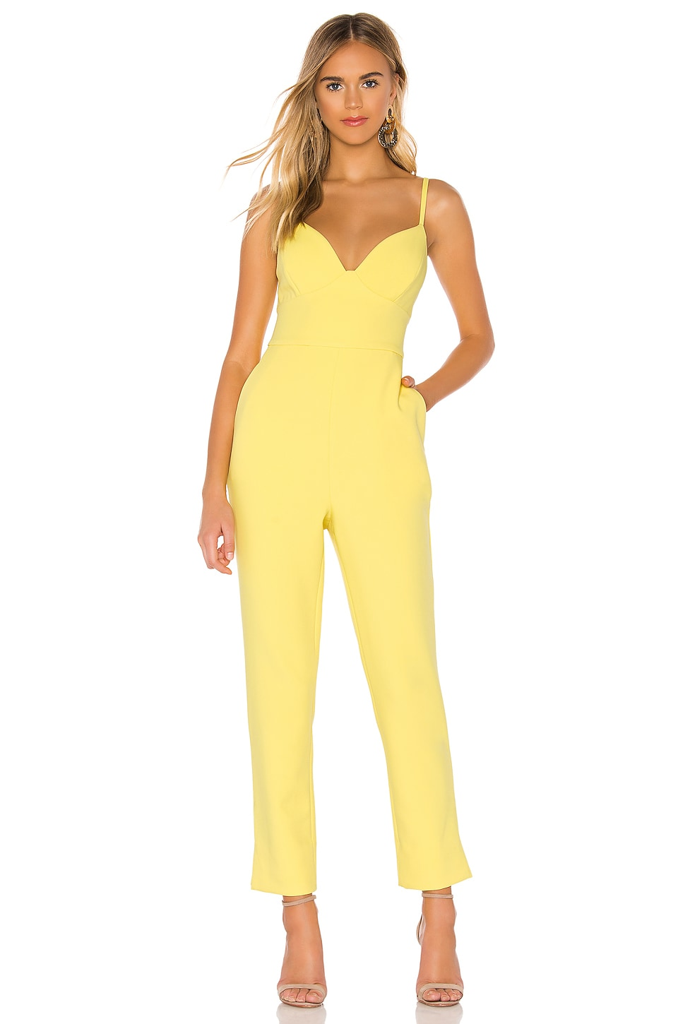BCBGMAXAZRIA Plunging Cut Out Jumpsuit in Aurora