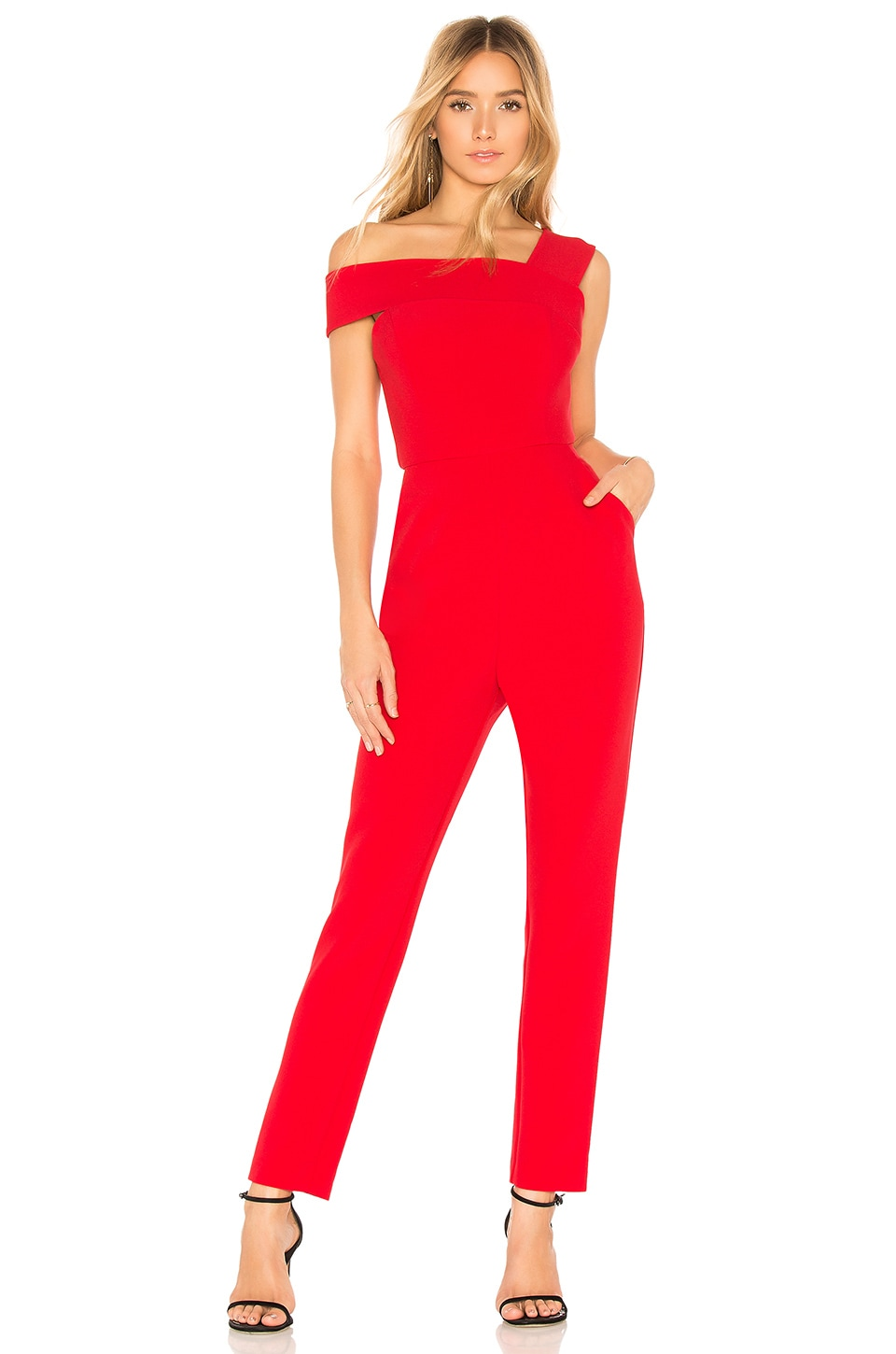 8783fb6c753d BCBGMAXAZRIA Haida Off Shoulder Jumpsuit in Red Berry