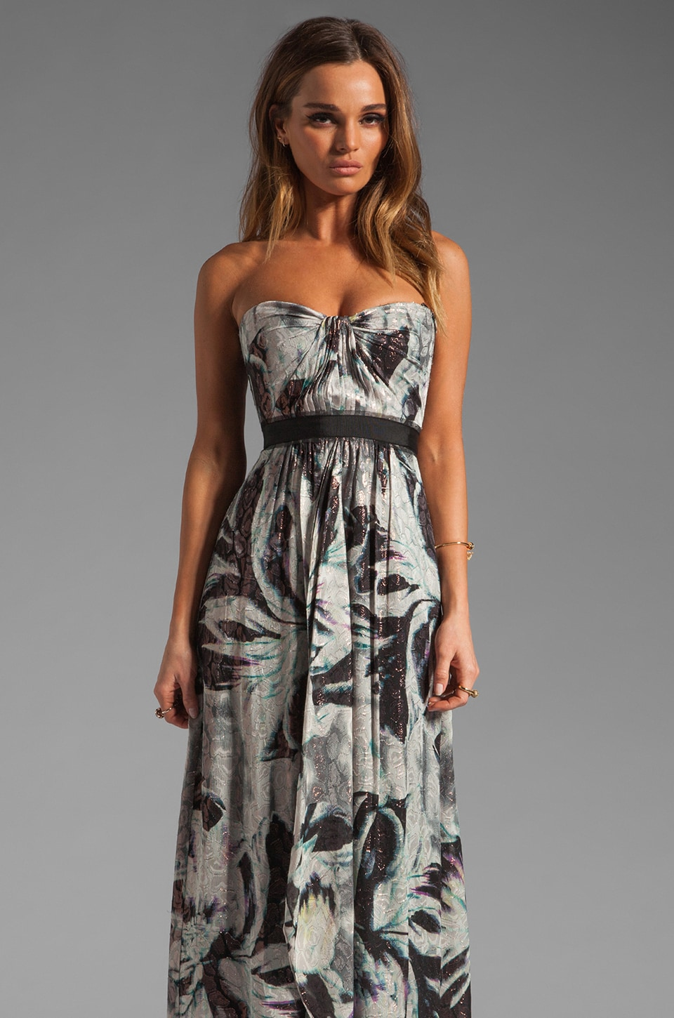 BCBGMAXAZRIA Strapless Maxi Dress in Mulberry Combo