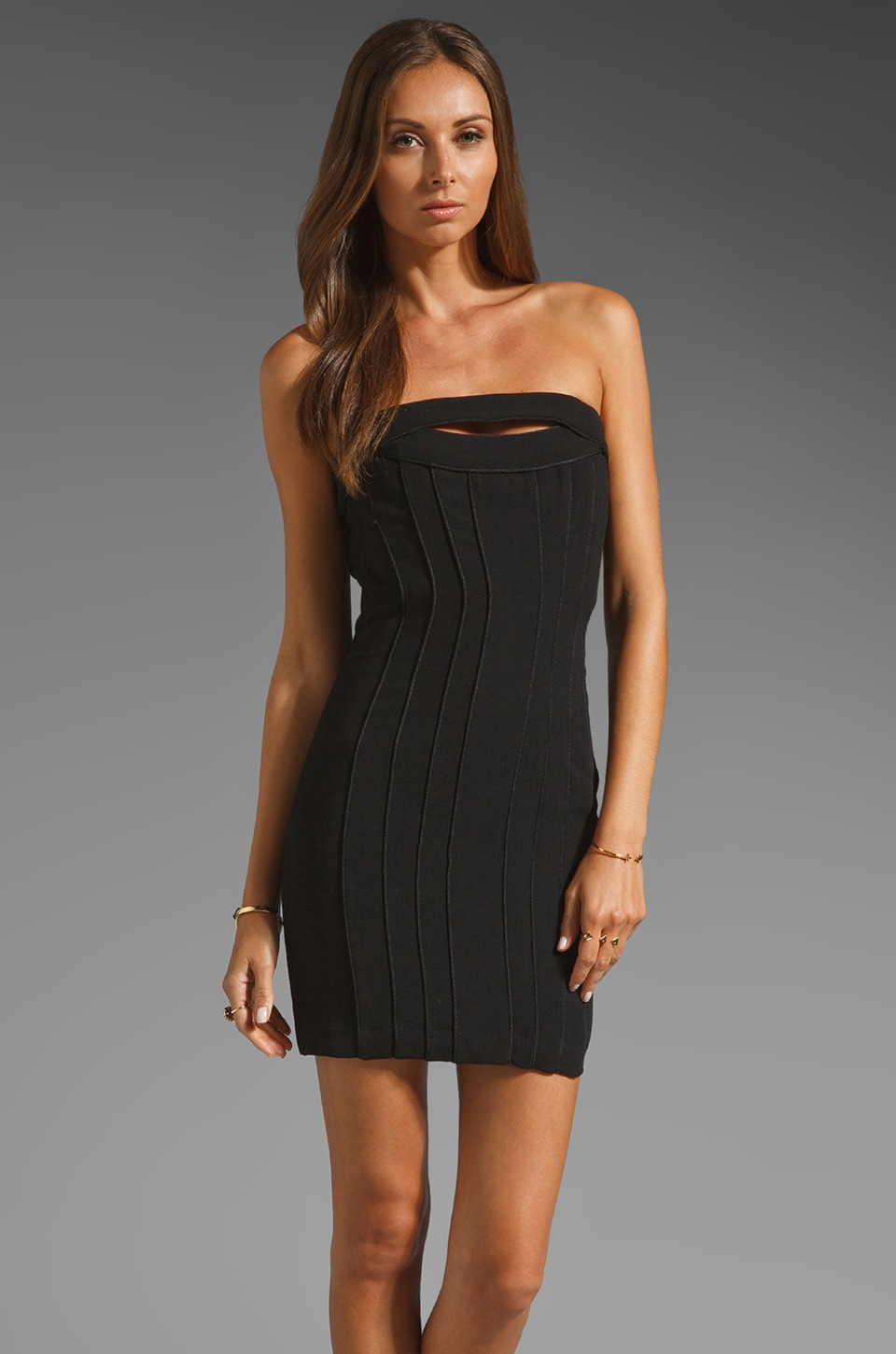 BCBGMAXAZRIA Strapless Mini Dress in Black