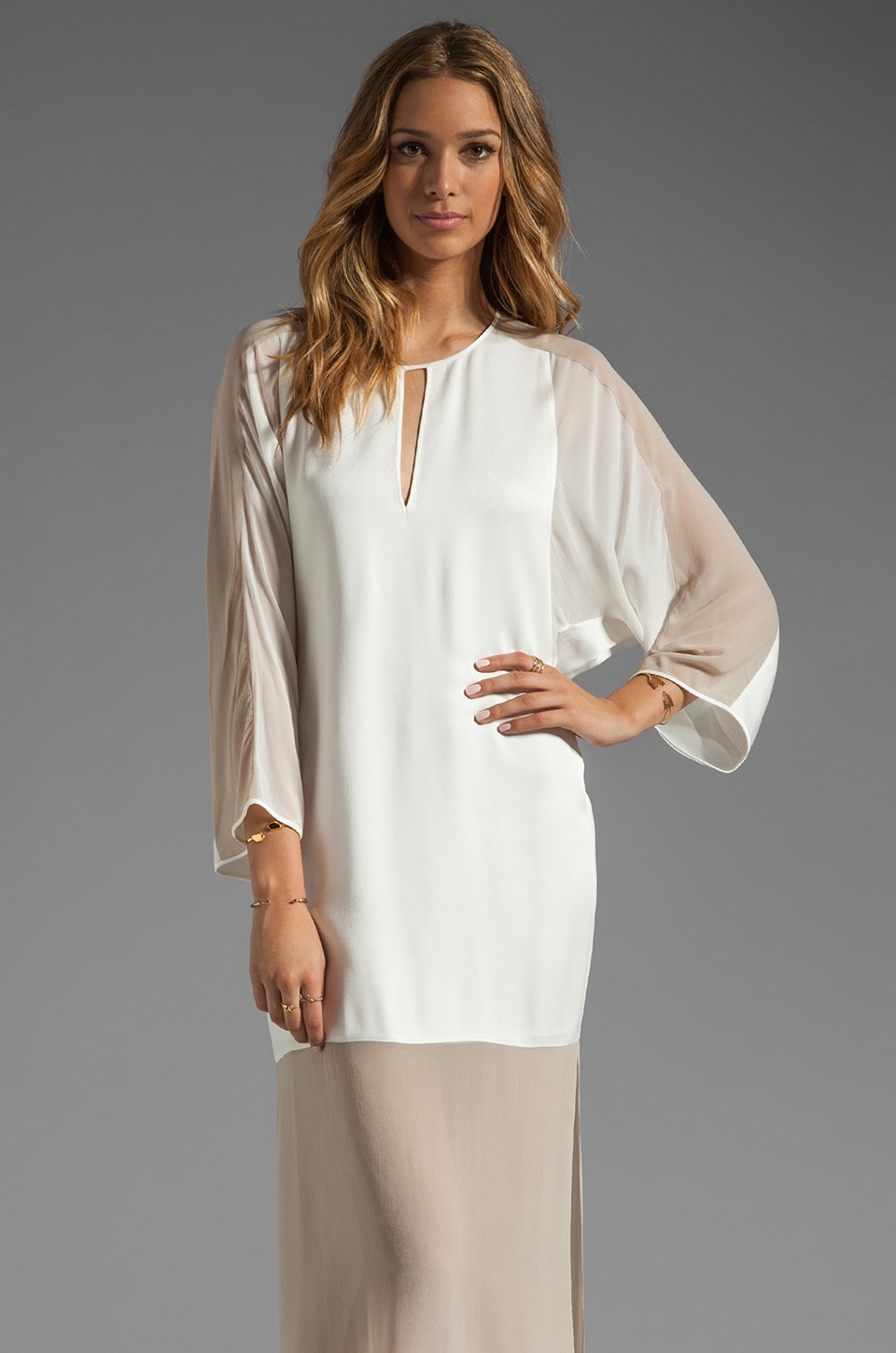 BCBGMAXAZRIA Runway Sheer Bottom Tunic Dress in Talc