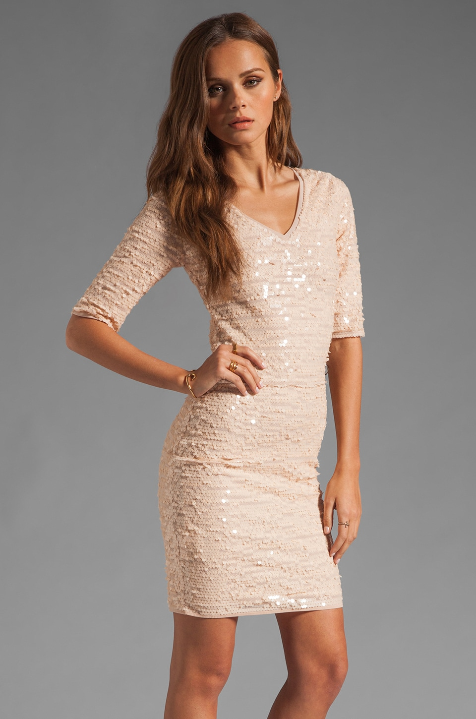BCBGMAXAZRIA Sequin Mini Dress in Rose Whisper
