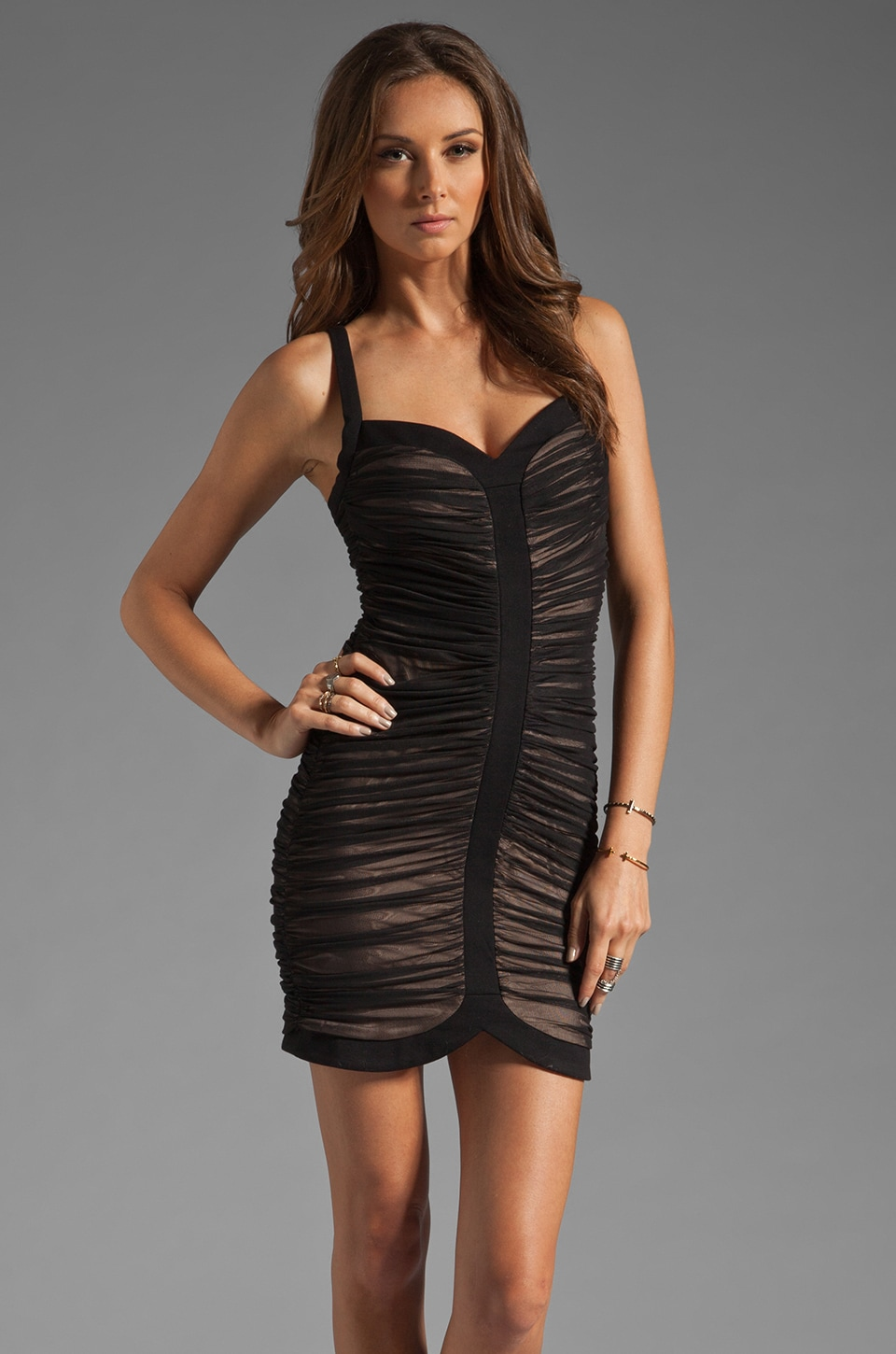 BCBGMAXAZRIA Mini Cocktail Dress in Black Combo