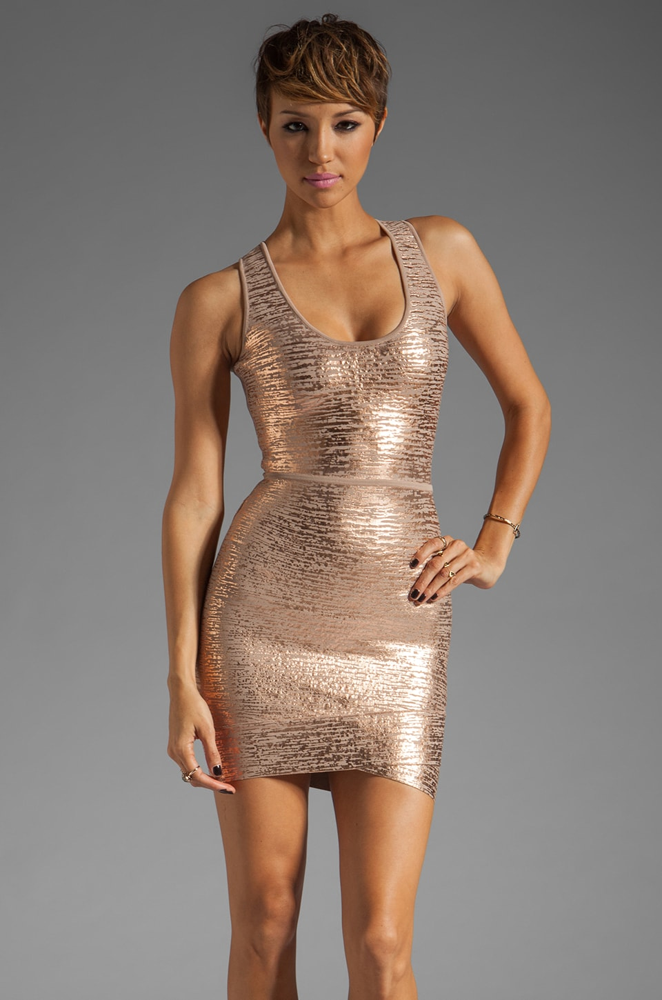 BCBGMAXAZRIA Bandage Dress in Rose Gold