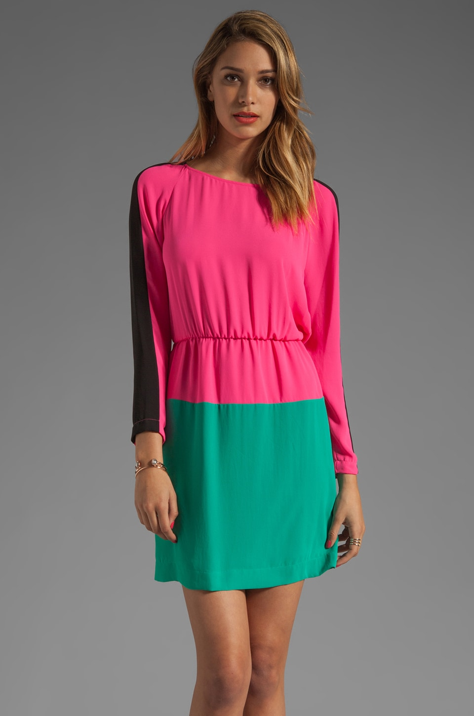 BCBGMAXAZRIA Long Sleeve Colorblocked Dress in Neon Pink Combo