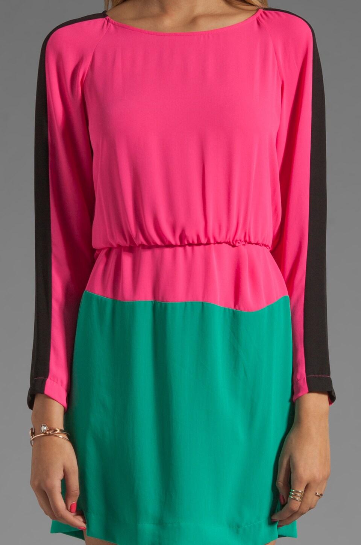 BCBGMAXAZRIA Long Sleeve Colorblocked Dress in Neon Pink Combo