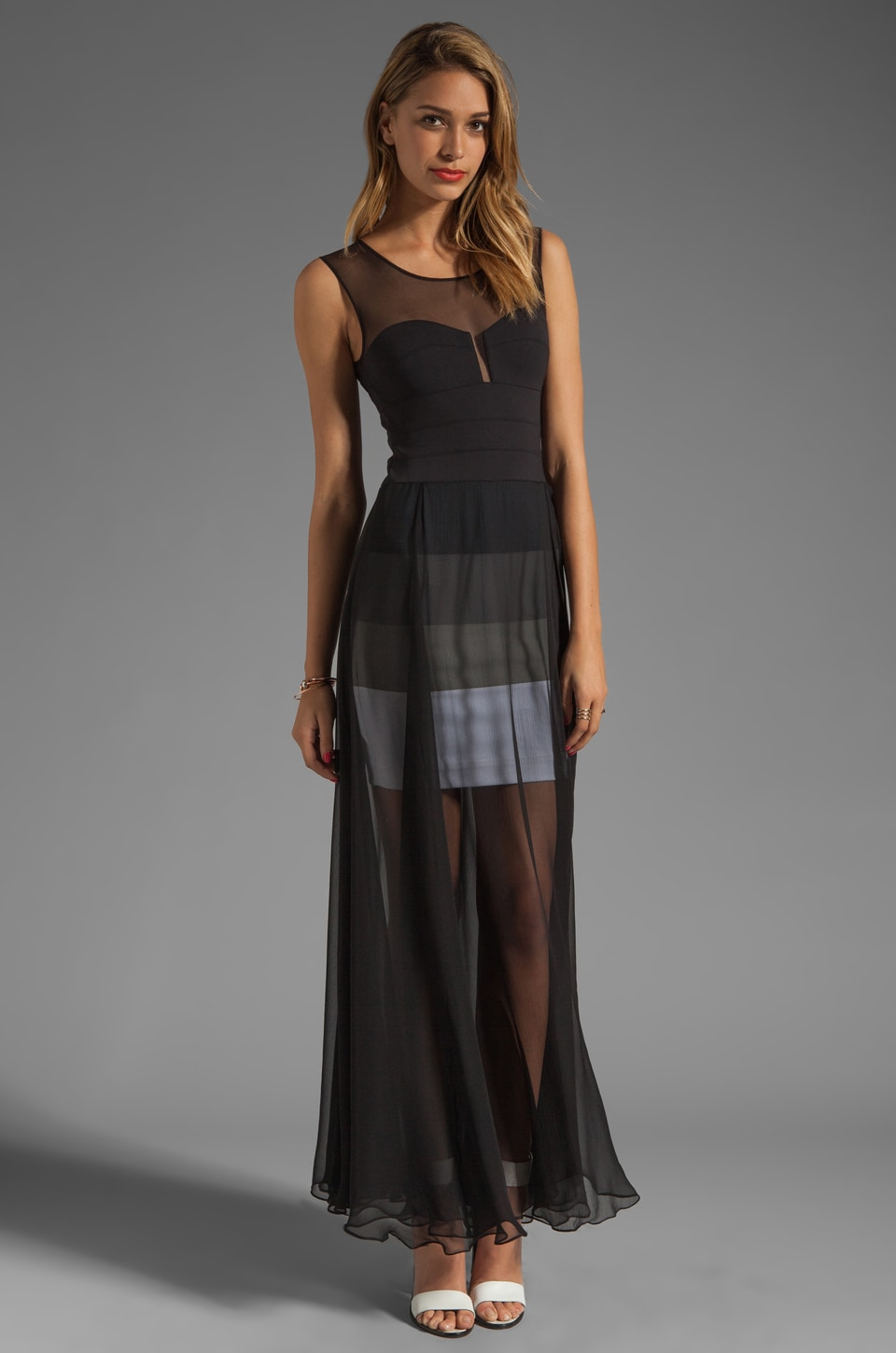 BCBGMAXAZRIA Sheer Maxi Tank Dress in Black Combo