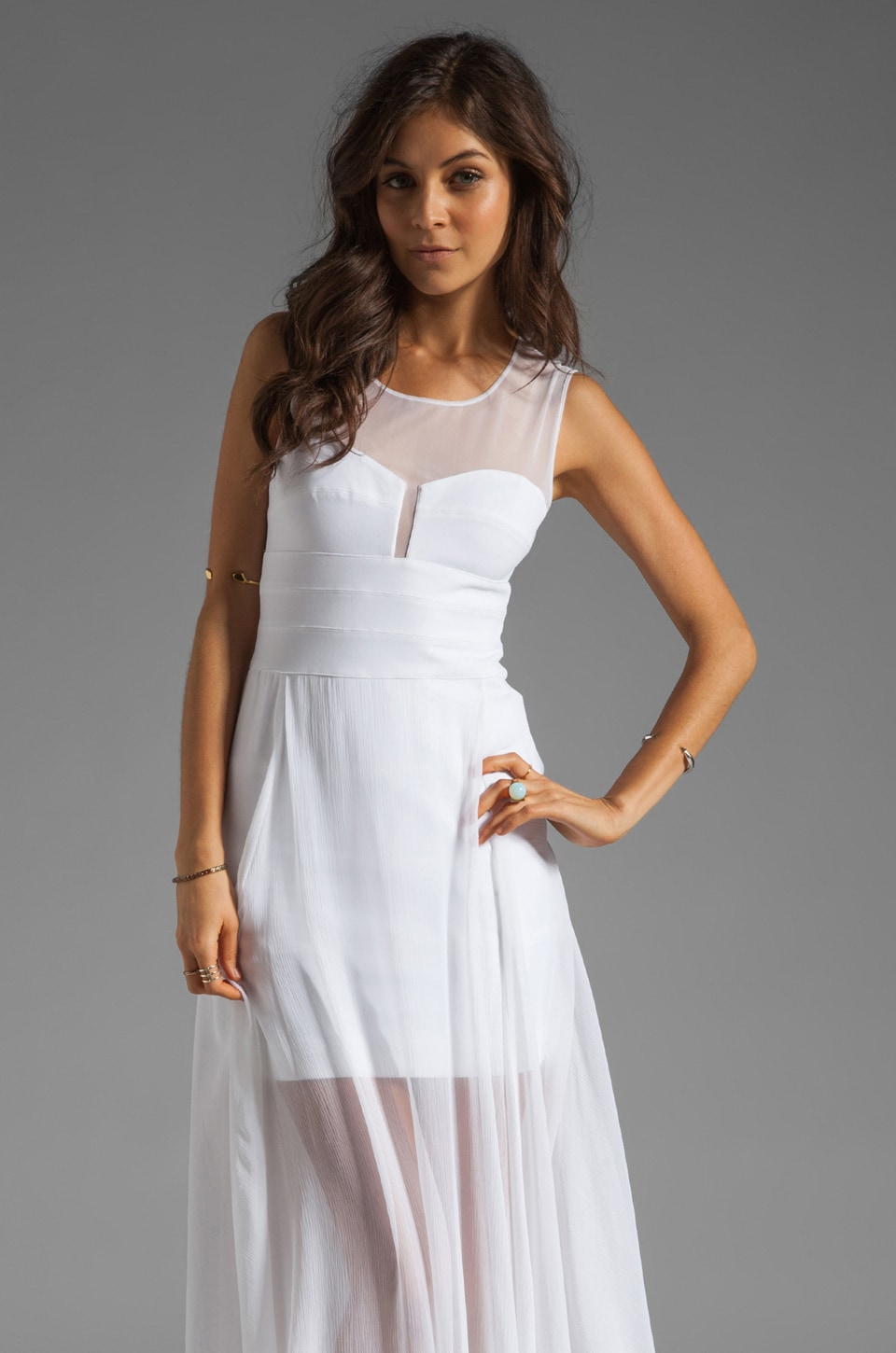 BCBGMAXAZRIA Sheer Maxi Tank Dress in White