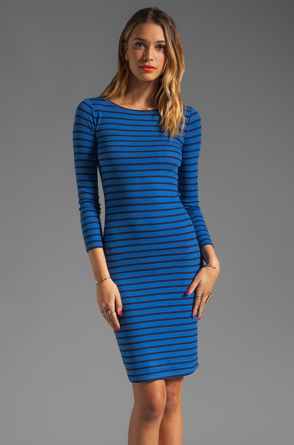 BCBGMAXAZRIA Striped Boatneck Dress in Larkspur and Classic Blue Combo