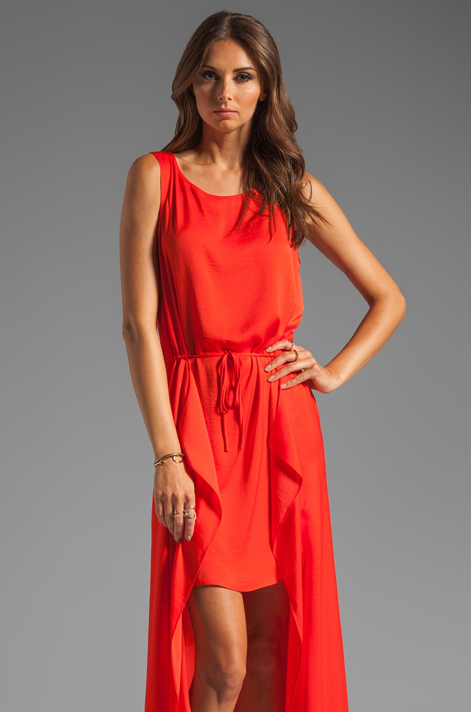 BCBGMAXAZRIA Asymmetric Tank Dress in Bright Poppy