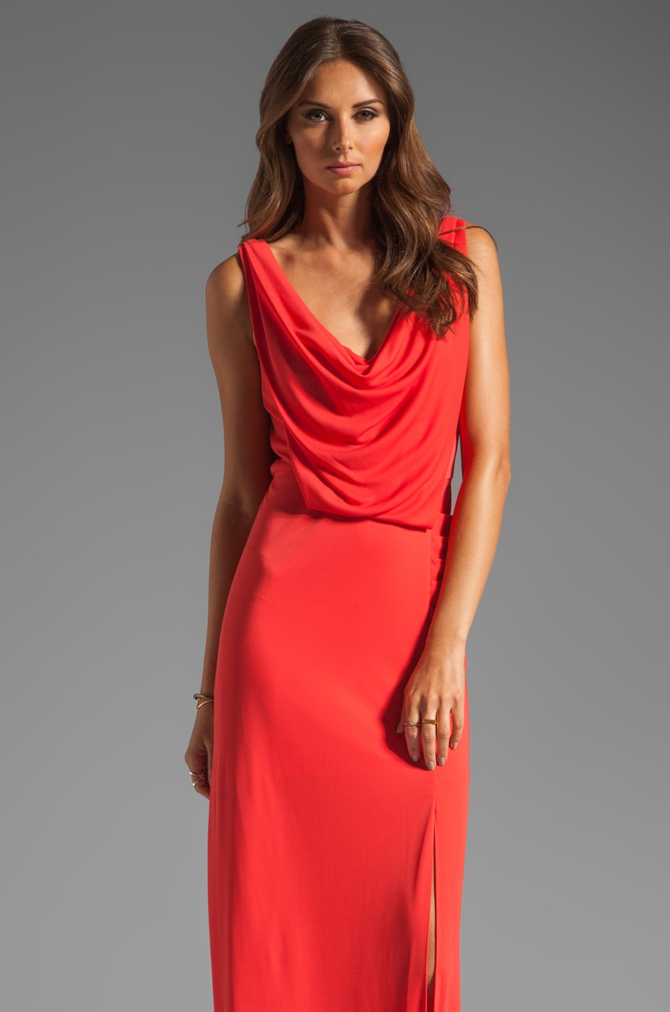 BCBGMAXAZRIA Cowl Neck Maxi Dress in Bright Poppy