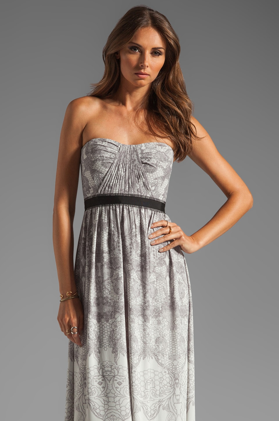 BCBGMAXAZRIA Strapless Maxi Dress in Ebony Blue Combo
