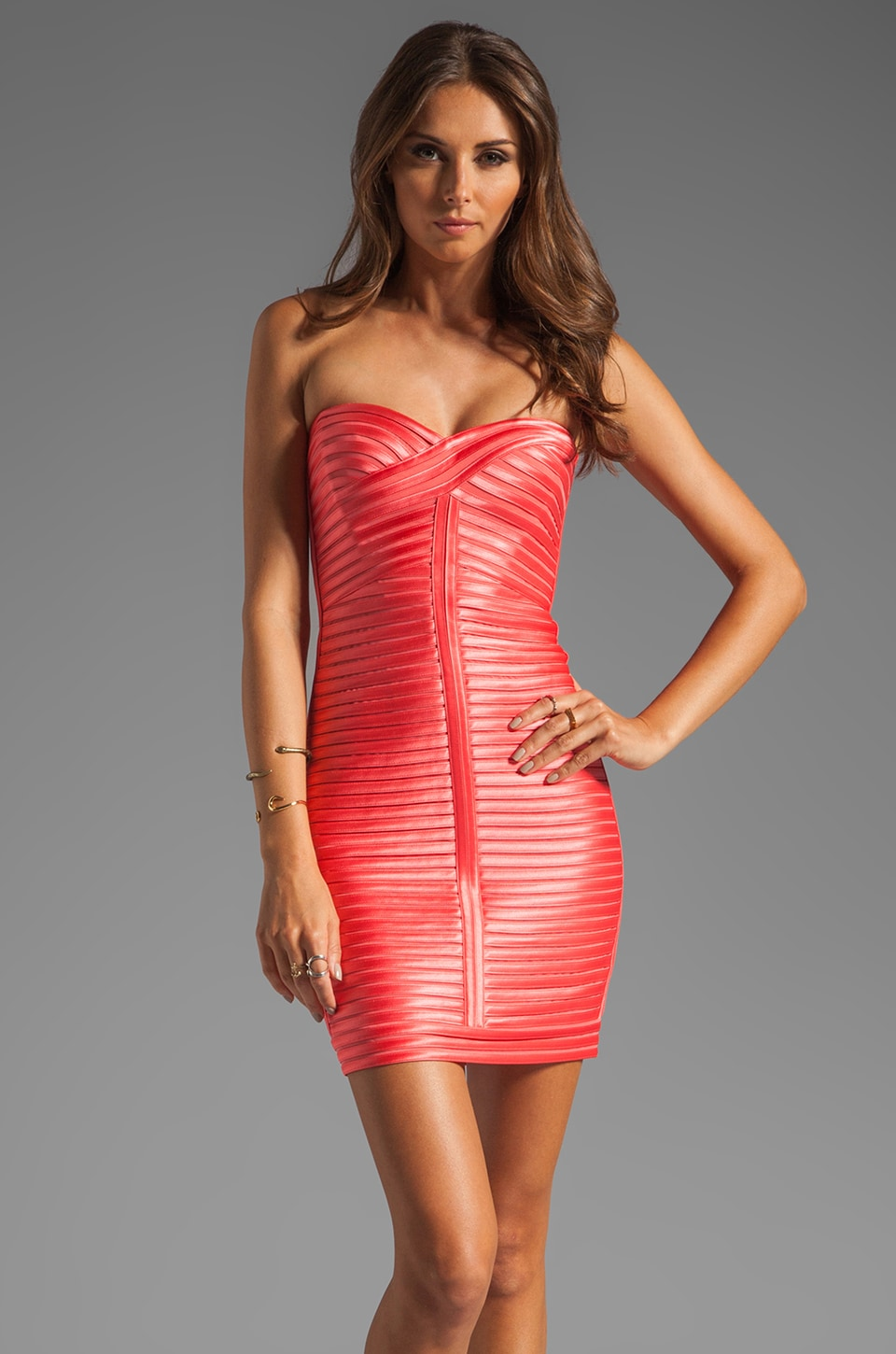 BCBGMAXAZRIA Mini Cocktail Dress in Coral Reef