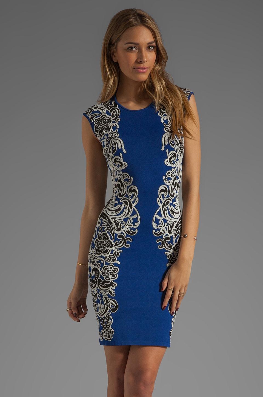 BCBGMAXAZRIA Embellished Dress in Larkspur Blue Combo