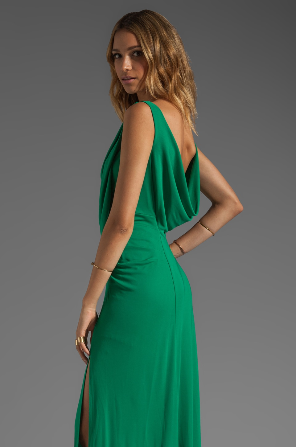 BCBGMAXAZRIA Scoop Back Dress in Light Kelly Green