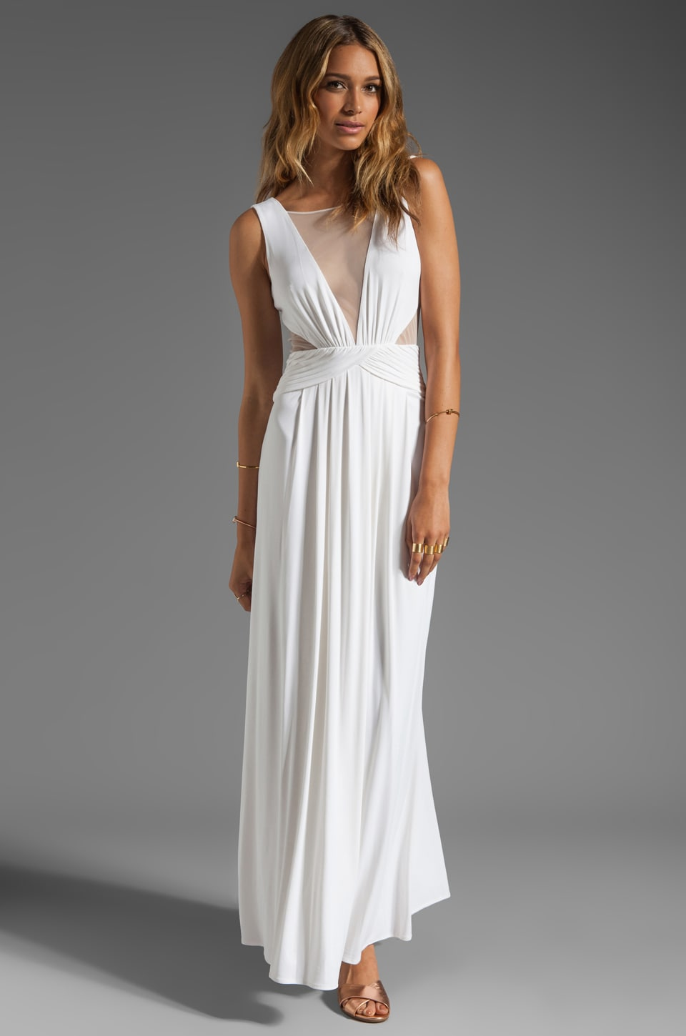 BCBGMAXAZRIA Cut Out Maxi Dress in White