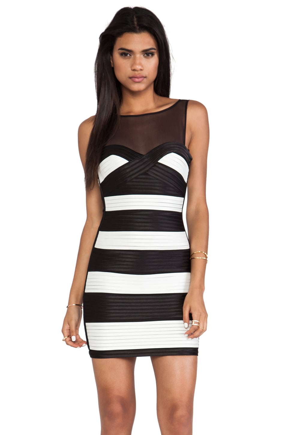 BCBGMAXAZRIA Striped Bodycon Dress in Black Combo
