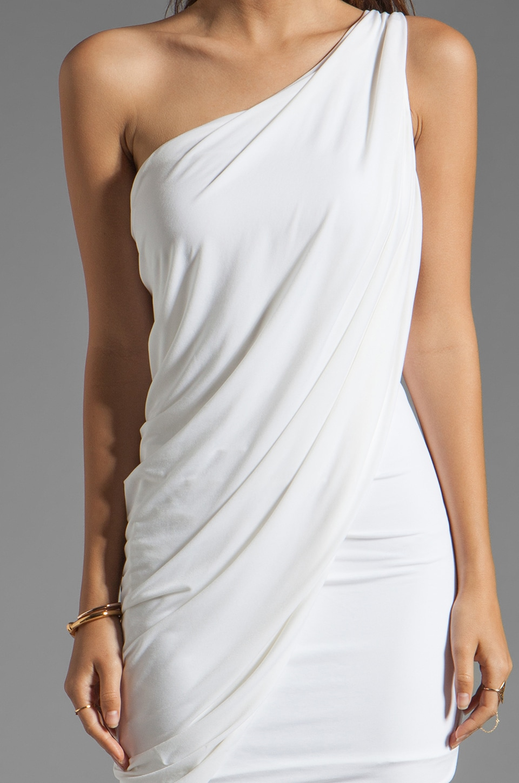 BCBGMAXAZRIA One Shoulder Mini Dress in White