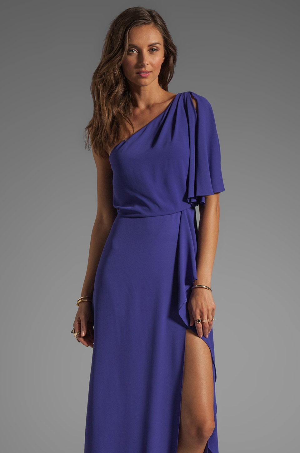 BCBGMAXAZRIA One Shoulder Maxi With Slit in Persian Blue