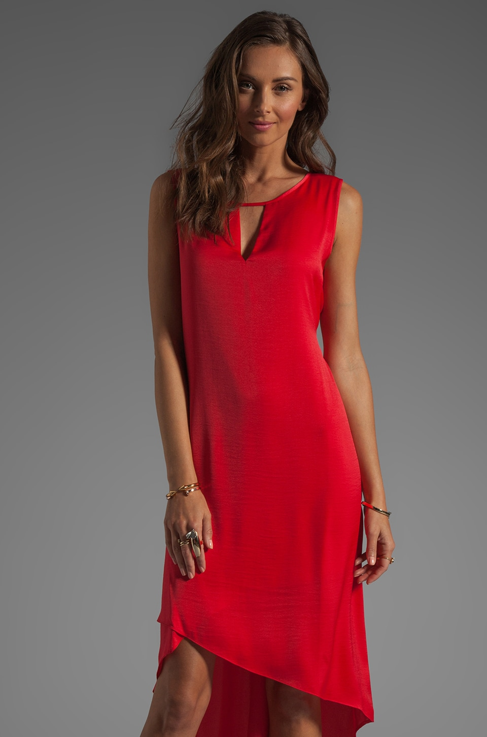 BCBGMAXAZRIA Asymmetrical Hem Dress in Lipstick Red