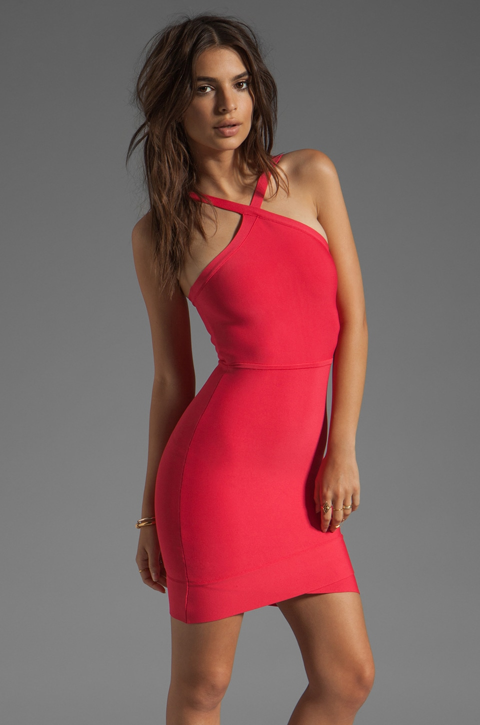 BCBGMAXAZRIA Mini Bodycon Dress in Lipstick Red