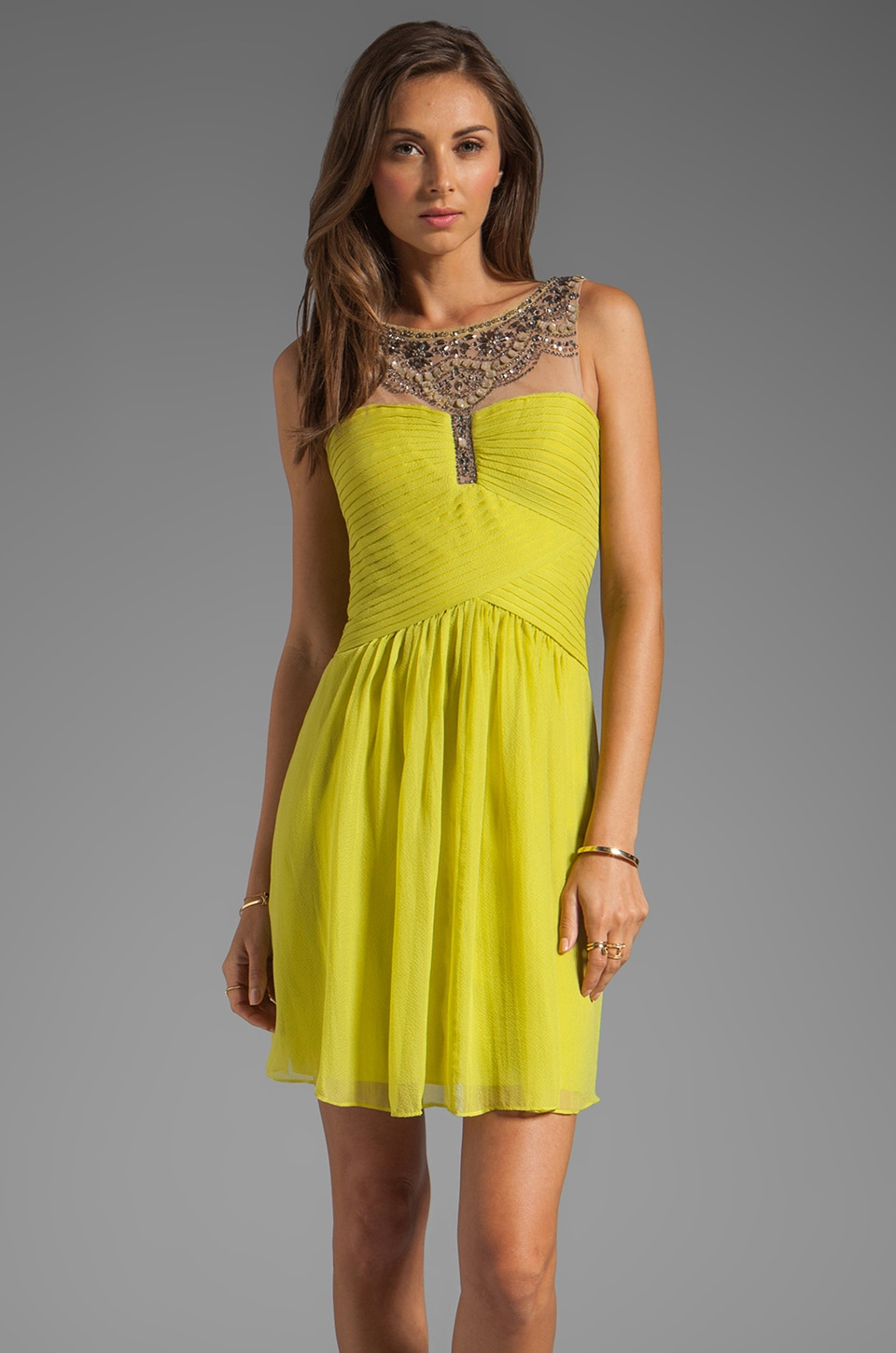 BCBGMAXAZRIA Combo Dress in Lemongrass