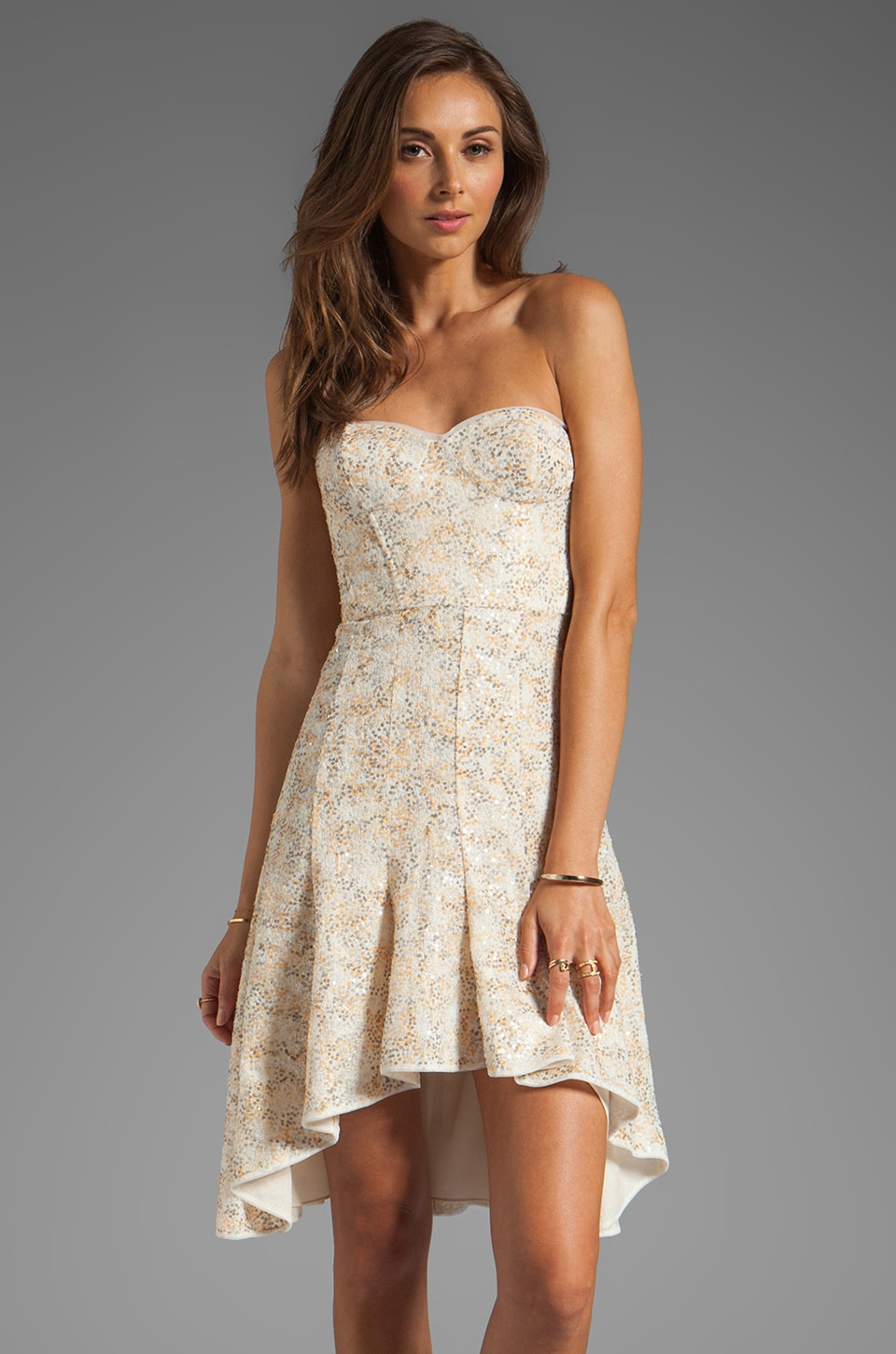 BCBGMAXAZRIA Strapless Dress in White Combo