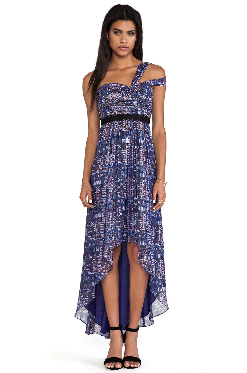 BCBGMAXAZRIA Printed One Shoulder Hi-Low Dress in Dark Regal Blue Combo