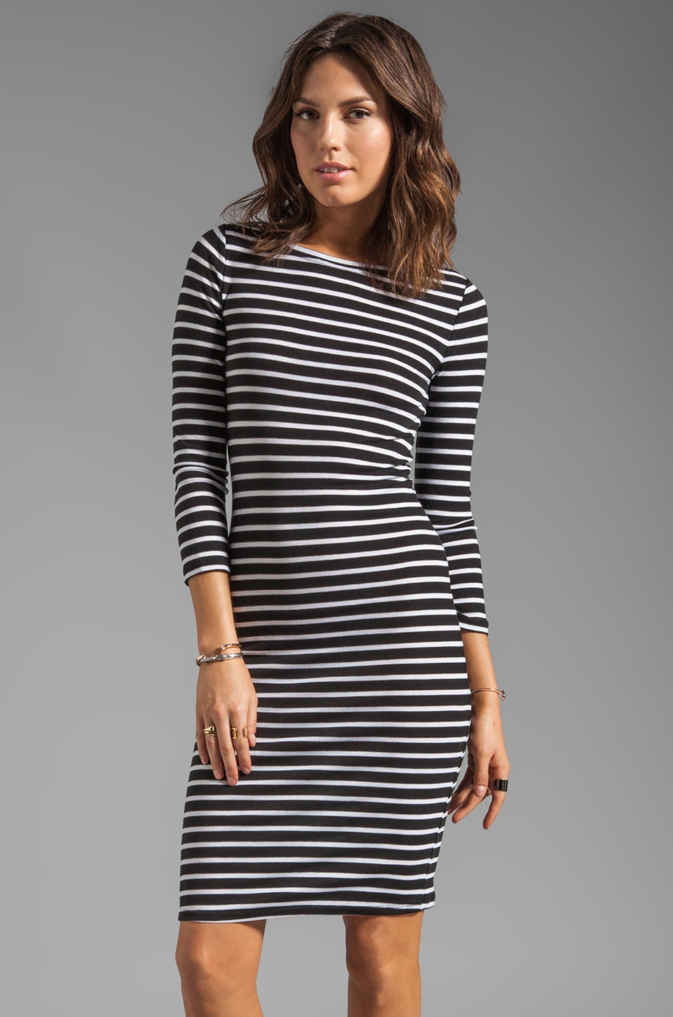 BCBGMAXAZRIA Striped Elbow Sleeve Dress in Black/White Combo