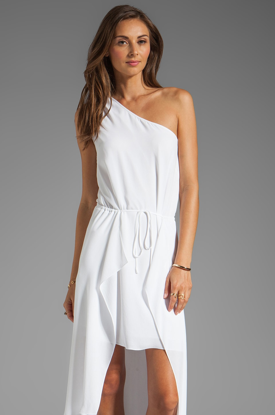 BCBGMAXAZRIA One Shoulder Hi-Low Dress in White