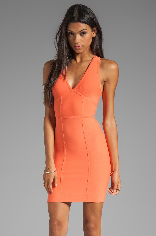 BCBGMAXAZRIA V-Neck Dress in Tangelo Orange