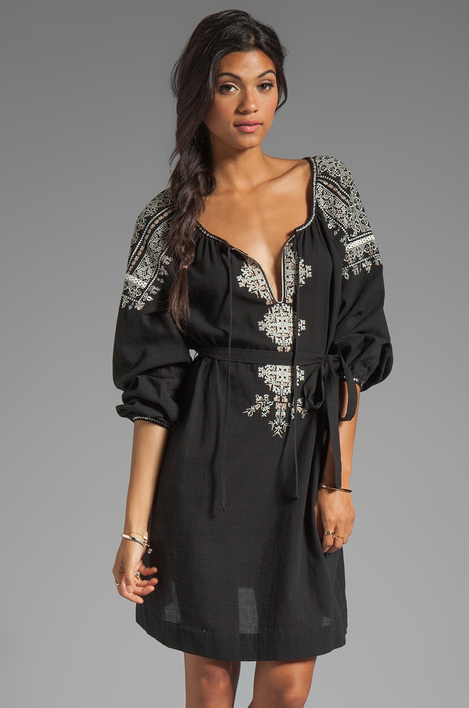BCBGMAXAZRIA Long Sleeve Combo Dress in Black Combo