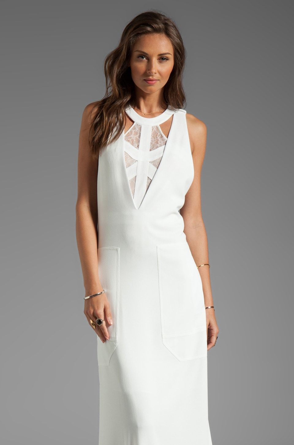 BCBGMAXAZRIA Runway Cut-Out Maxi Dress in Talc