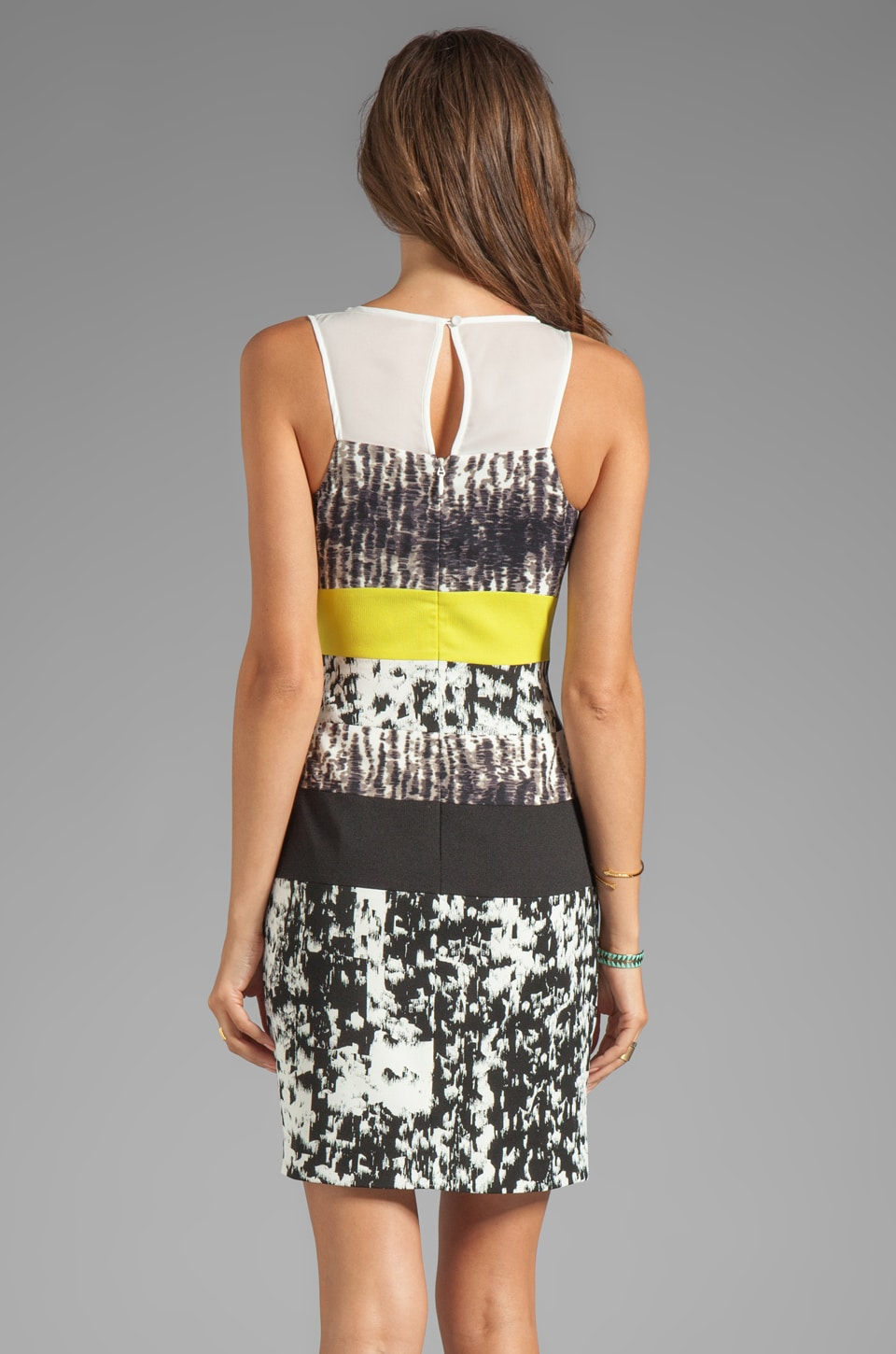BCBGMAXAZRIA Print Combo Tank Dress in White Combo