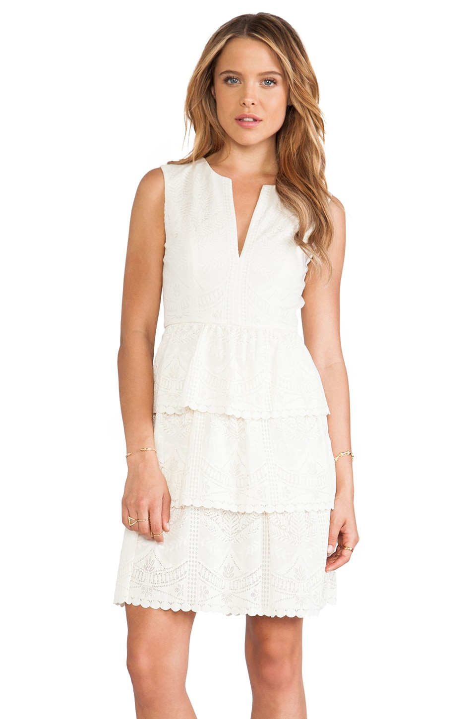 BCBGMAXAZRIA Sleeveless Lace Dress in Ivory