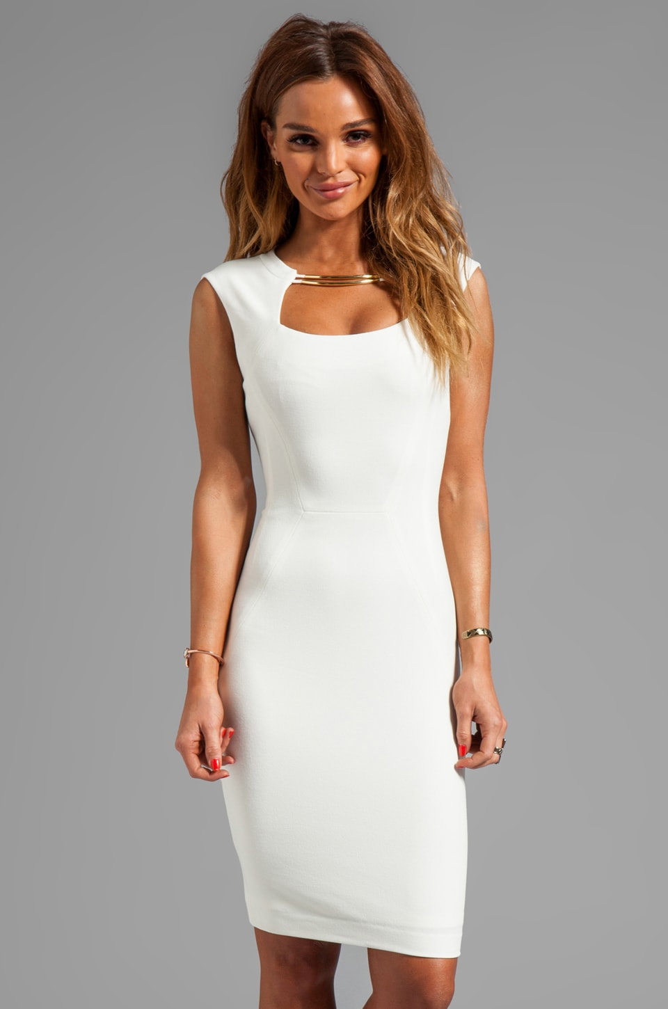 BCBGMAXAZRIA Sleeveless Body Con Dress in Off White