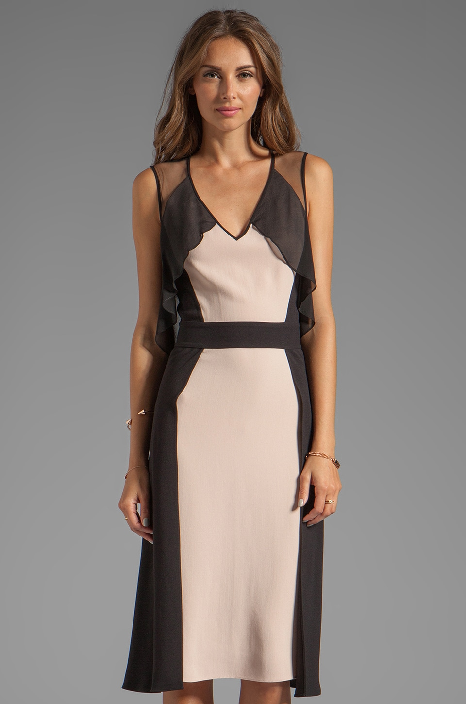 BCBGMAXAZRIA Combo Dress in Bare Pink