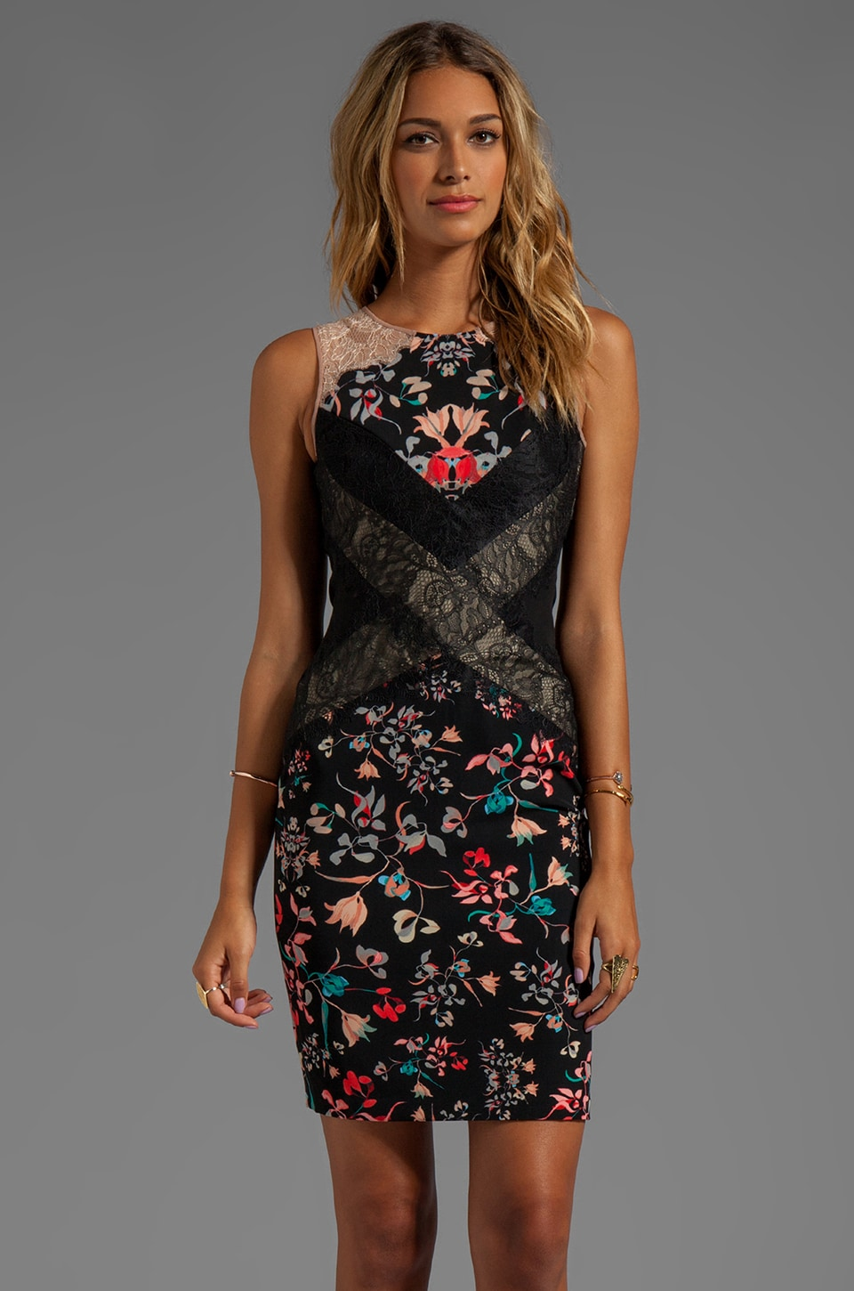 BCBGMAXAZRIA Sleeveless Print Dress in Black Combo