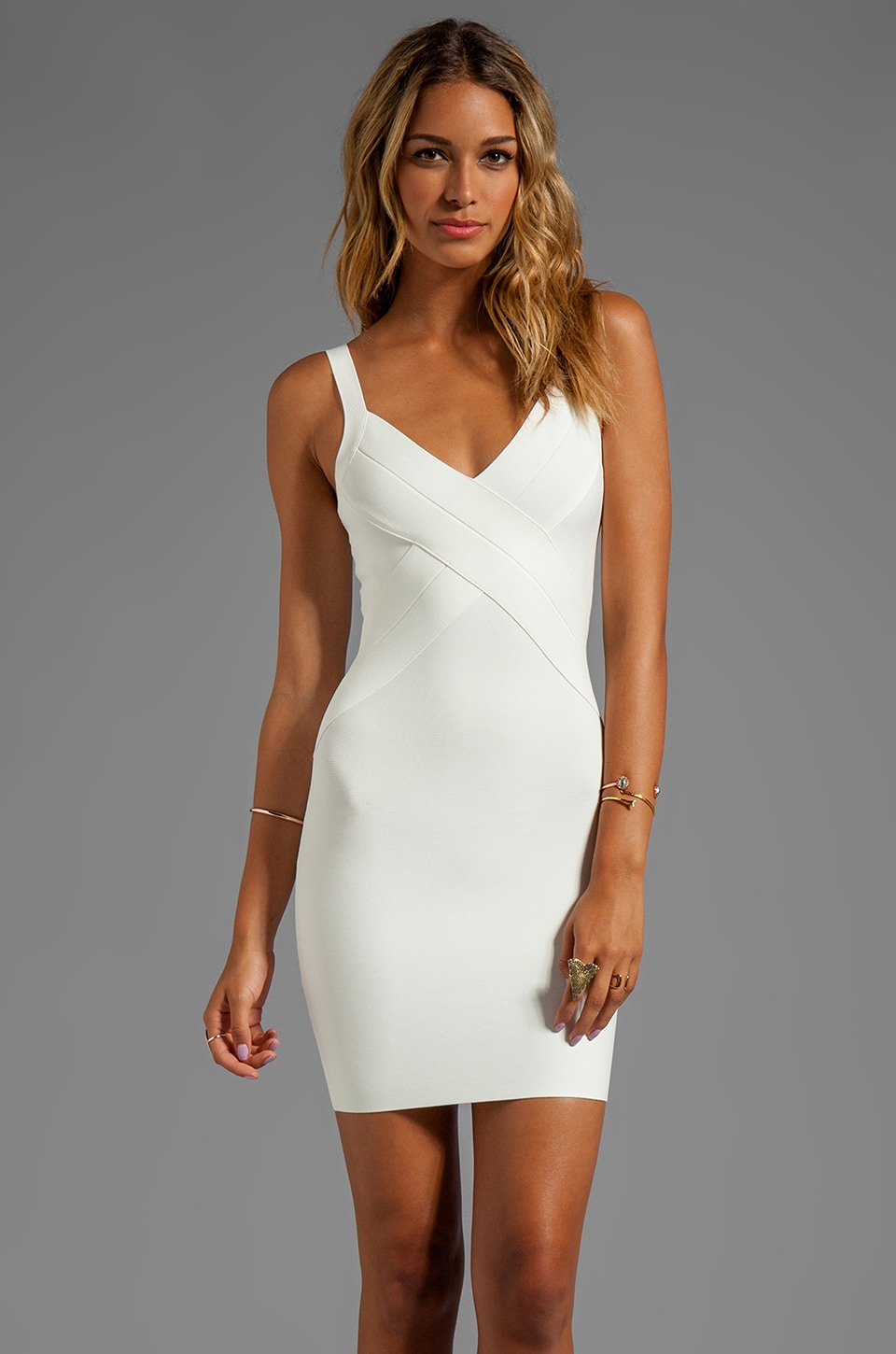 BCBGMAXAZRIA Bodycon Tank Dress in Gardenia