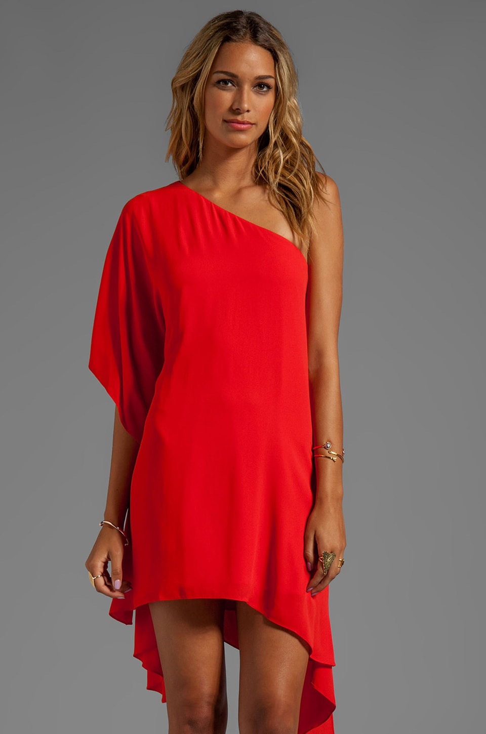 BCBGMAXAZRIA One Shoulder Dress in Bright Red