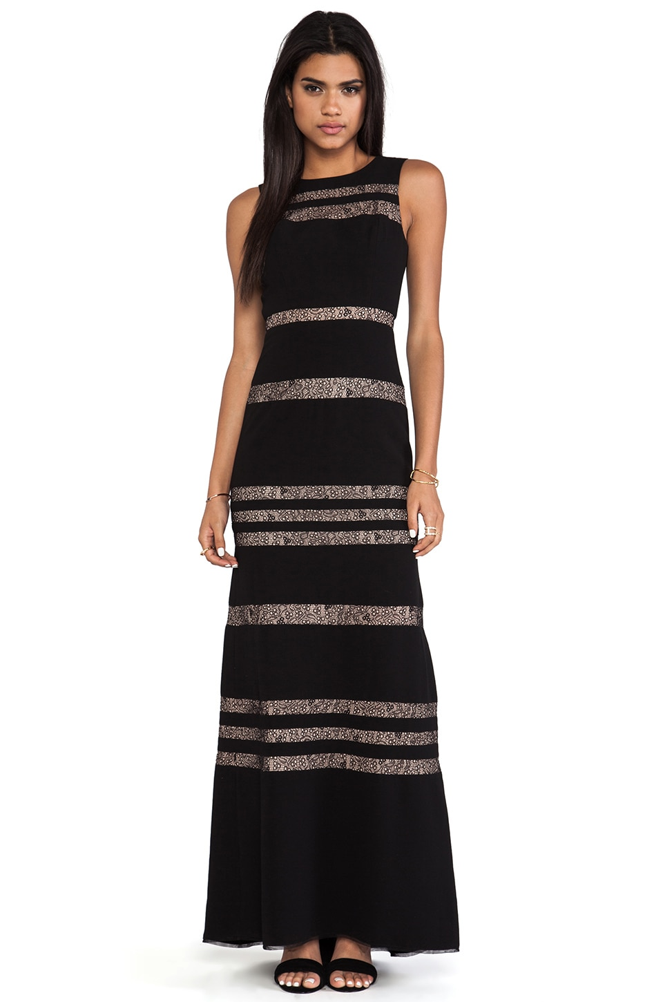 BCBGMAXAZRIA Sleeveless Striped Gown in Black Combo
