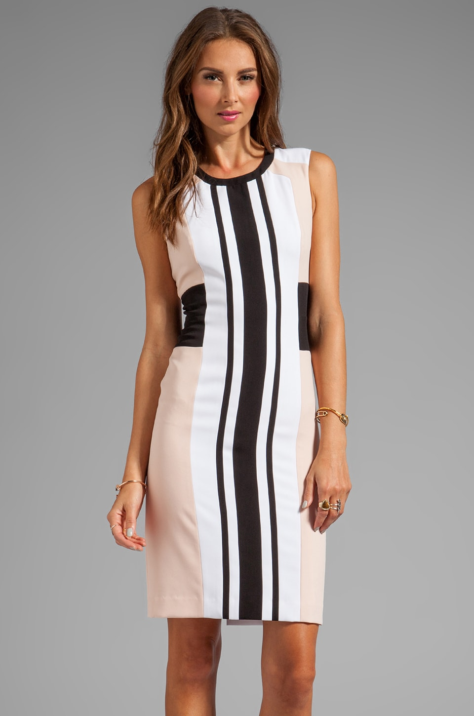 BCBGMAXAZRIA Sleeveless Stripe Front Dress in Bare Pink Combo