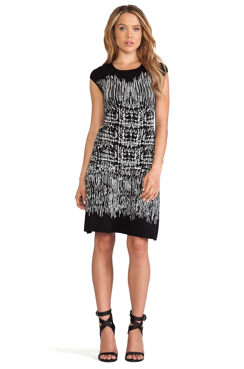 BCBGMAXAZRIA Melissa Crew Neck Printed Dress in Black Combo