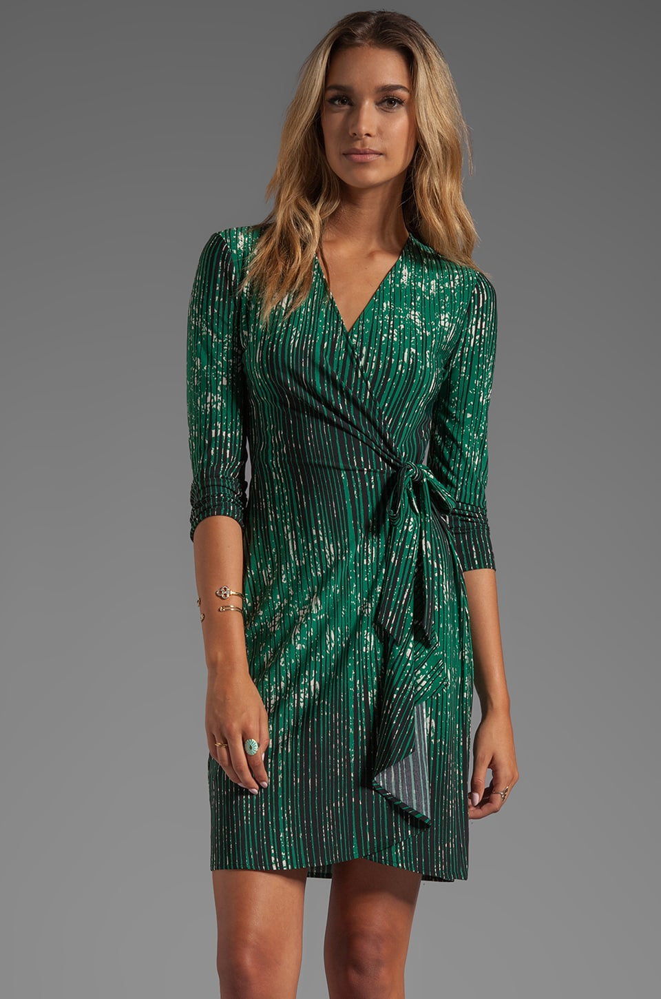 BCBGMAXAZRIA Adele Wrap Dress in Amazon Green Combo