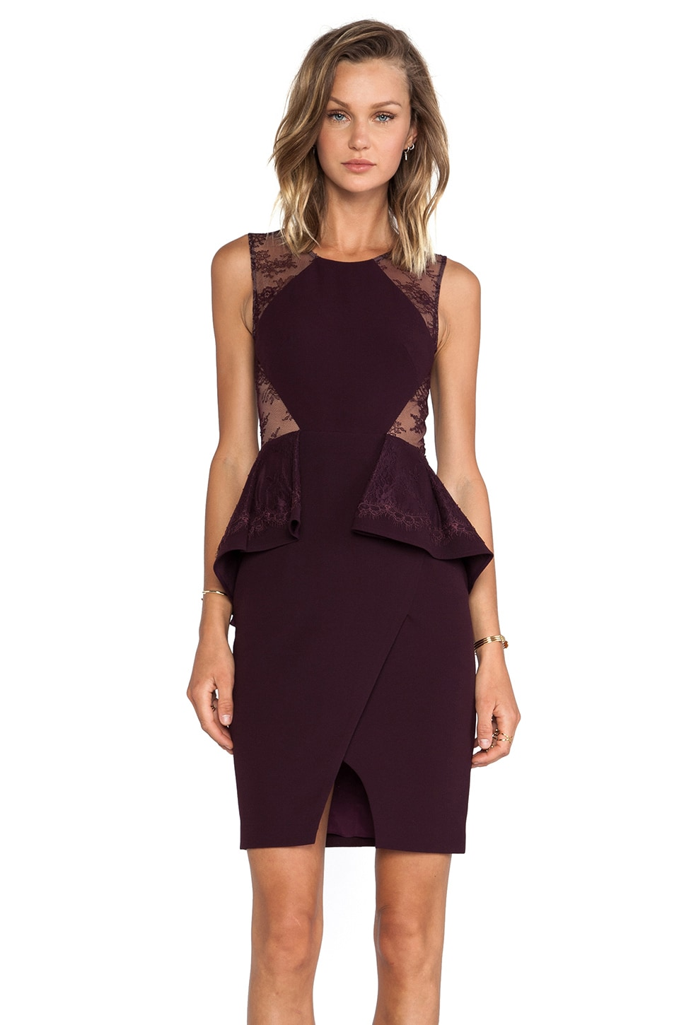 BCBGMAXAZRIA Whitley Sleeveless Peplum Dress in Deep Port