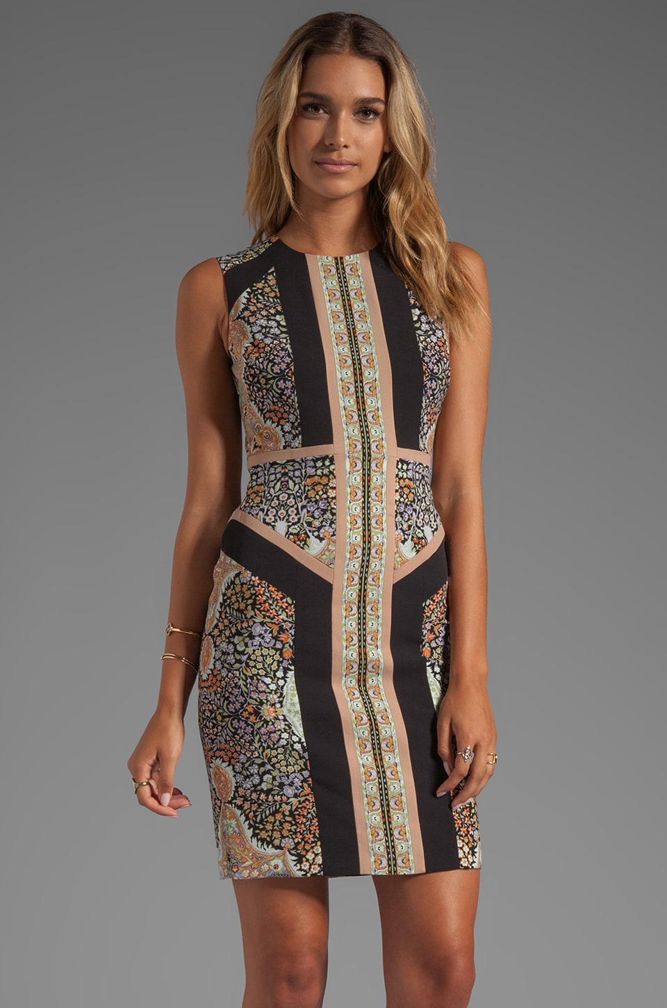 BCBGMAXAZRIA Lauren Sleeveless Printed Dress in Slate Combo