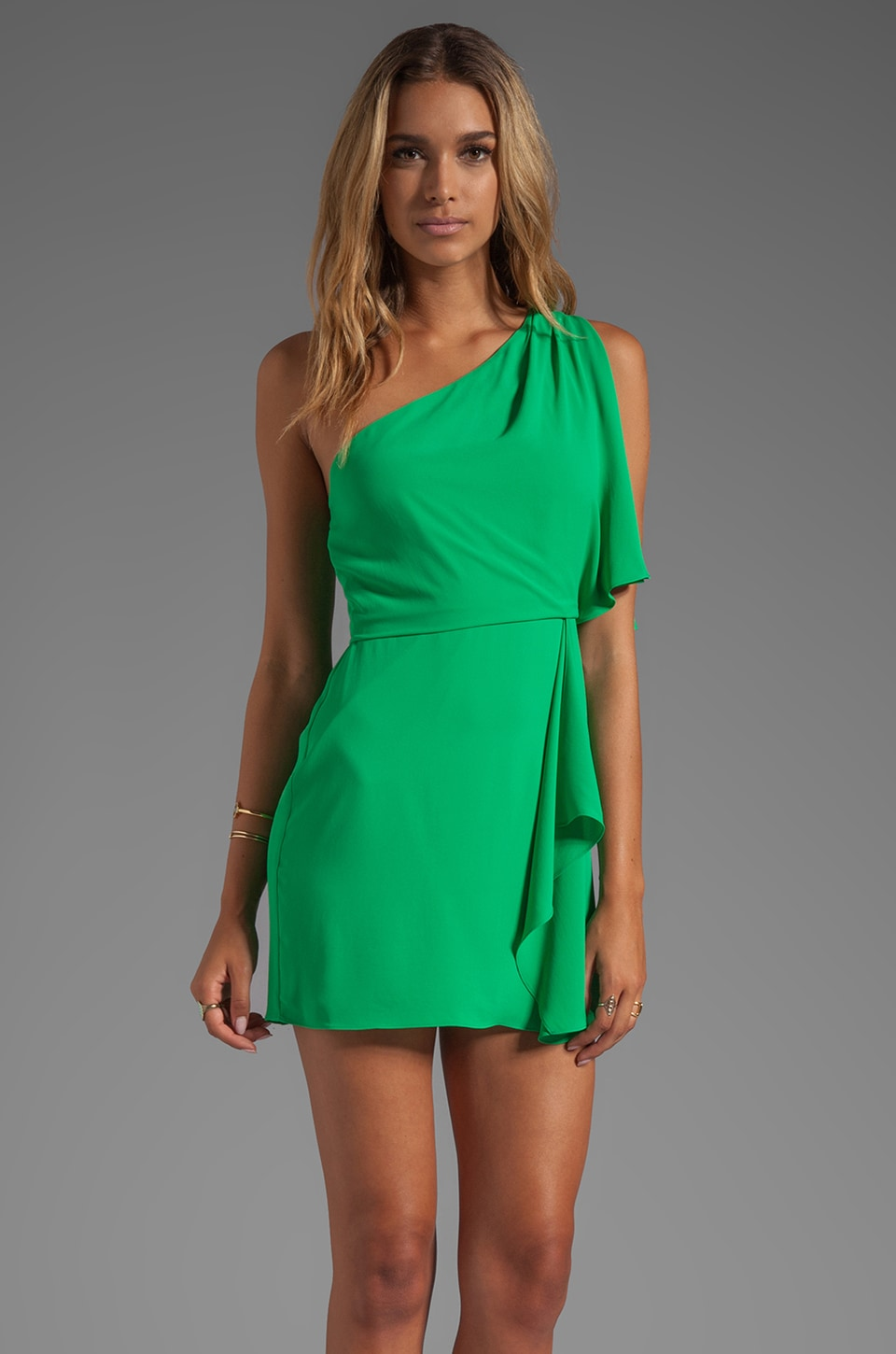 BCBGMAXAZRIA Mina One Shoulder Dress in Light Evergreen