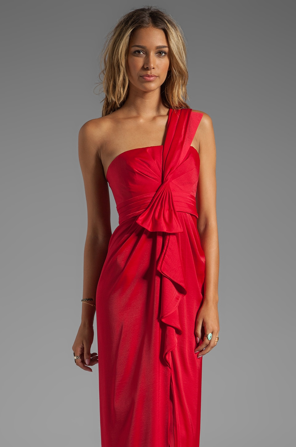 BCBGMAXAZRIA Barbara One Shoulder Gown in New Red