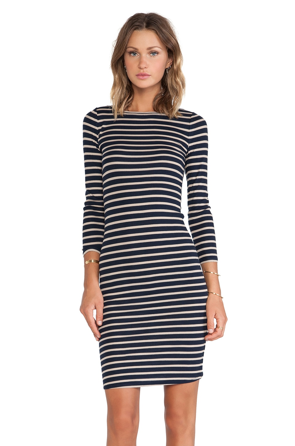 BCBGMAXAZRIA Long Sleeve Striped Dress in Navy/Khaki